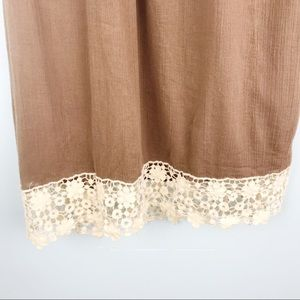 Umgee Dresses - Brown Dress with Crotchet Trim and Sleeves